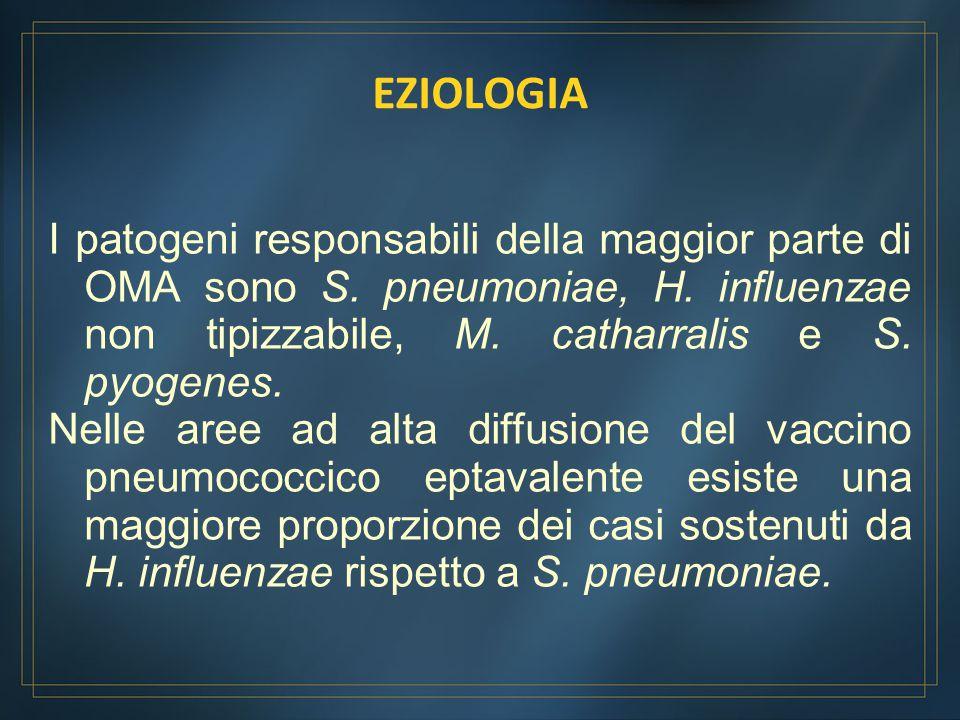 I patogeni responsabili della maggior parte di OMA sono S. pneumoniae, H. influenzae non tipizzabile, M. catharralis e S. pyogenes. Nelle aree ad alta