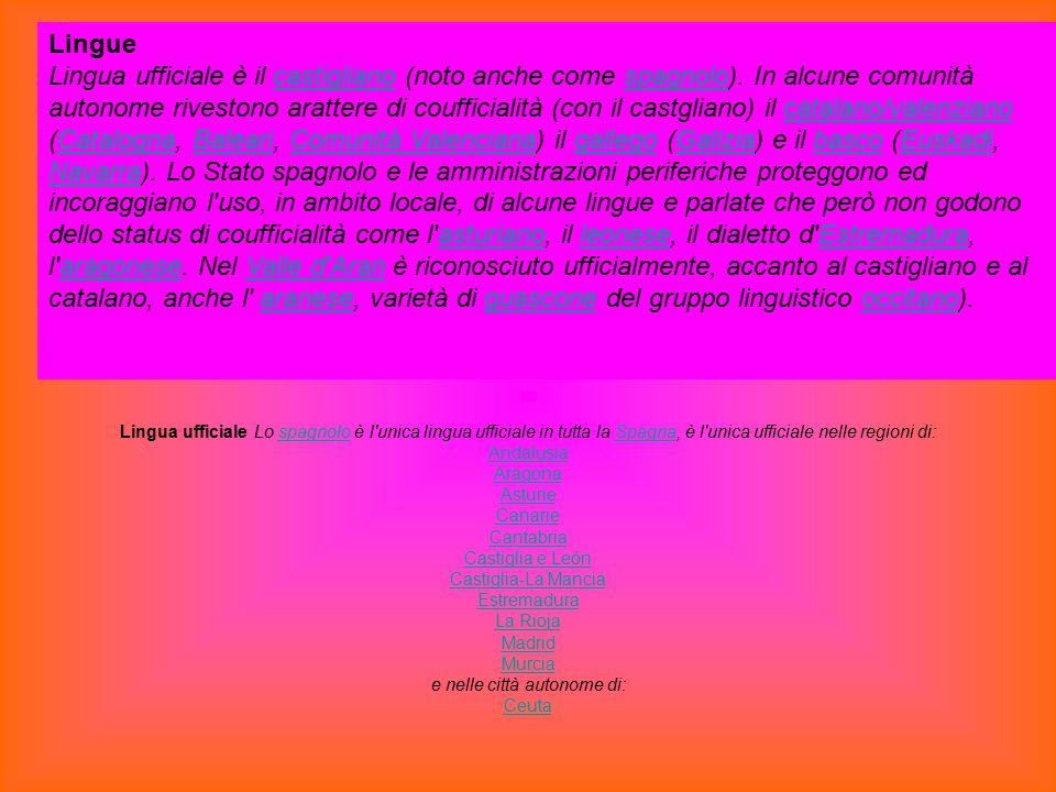 Lingue Lingua ufficiale è il castigliano (noto anche come spagnolo). In alcune comunità autonome rivestono arattere di coufficialità (con il castglian