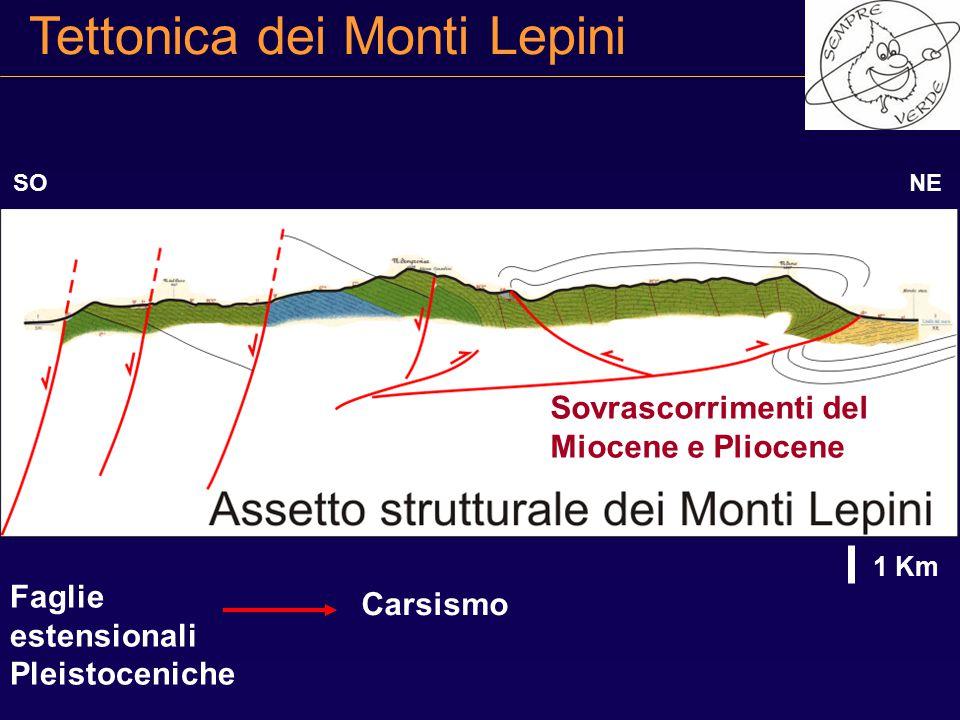 Tettonica dei Monti Lepini NESO 1 Km Faglie estensionali Pleistoceniche Sovrascorrimenti del Miocene e Pliocene Carsismo