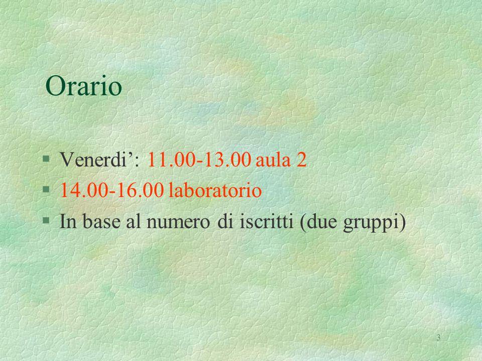 3 Orario §Venerdi': 11.00-13.00 aula 2 §14.00-16.00 laboratorio §In base al numero di iscritti (due gruppi)