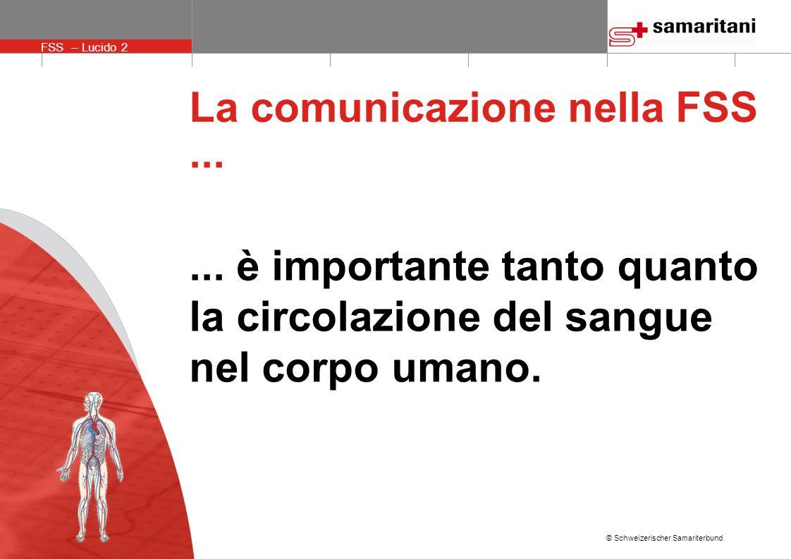 © Schweizerischer Samariterbund FSS – Lucido 2 La comunicazione nella FSS......
