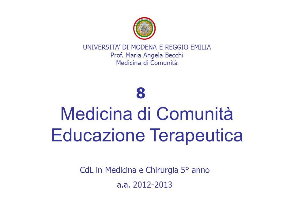 UNIVERSITA' DI MODENA E REGGIO EMILIA Prof. Maria Angela Becchi Medicina di Comunità Medicina di Comunità Educazione Terapeutica CdL in Medicina e Chi
