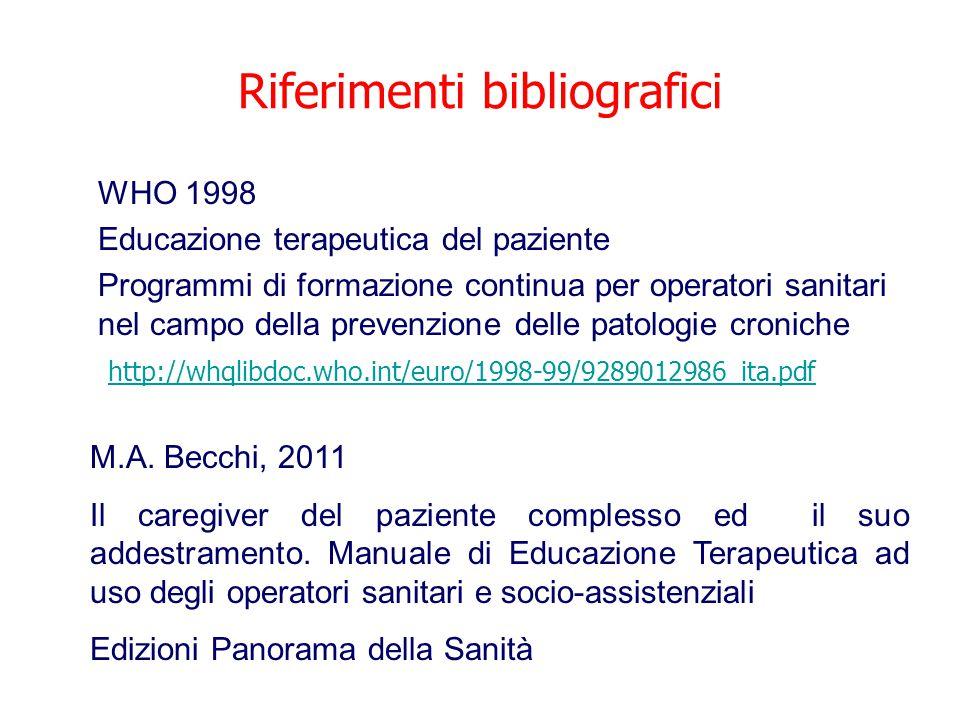 Riferimenti bibliografici WHO 1998 Educazione terapeutica del paziente Programmi di formazione continua per operatori sanitari nel campo della prevenz