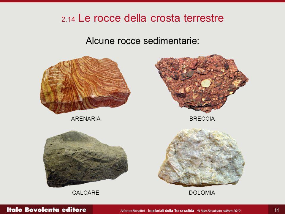 Alfonso Bosellini – I materiali della Terra solida - © Italo Bovolenta editore 2012 11 2.14 Le rocce della crosta terrestre Alcune rocce sedimentarie:
