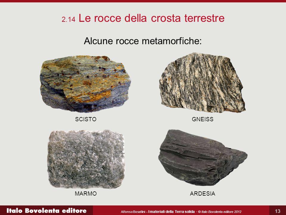 Alfonso Bosellini – I materiali della Terra solida - © Italo Bovolenta editore 2012 13 2.14 Le rocce della crosta terrestre Alcune rocce metamorfiche: