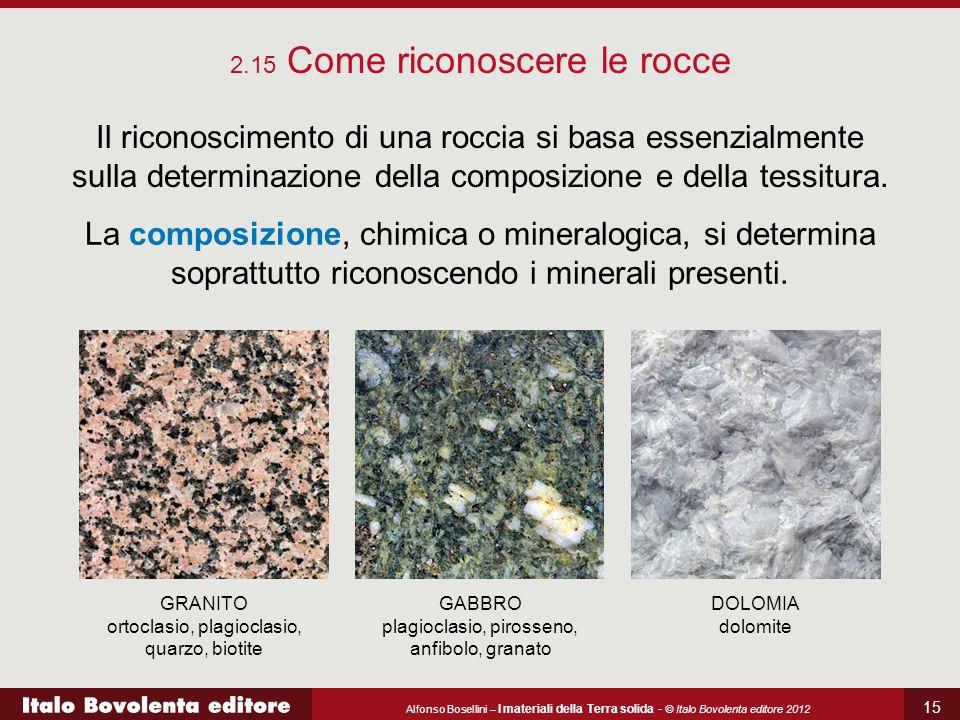 Alfonso Bosellini – I materiali della Terra solida - © Italo Bovolenta editore 2012 15 2.15 Come riconoscere le rocce Il riconoscimento di una roccia