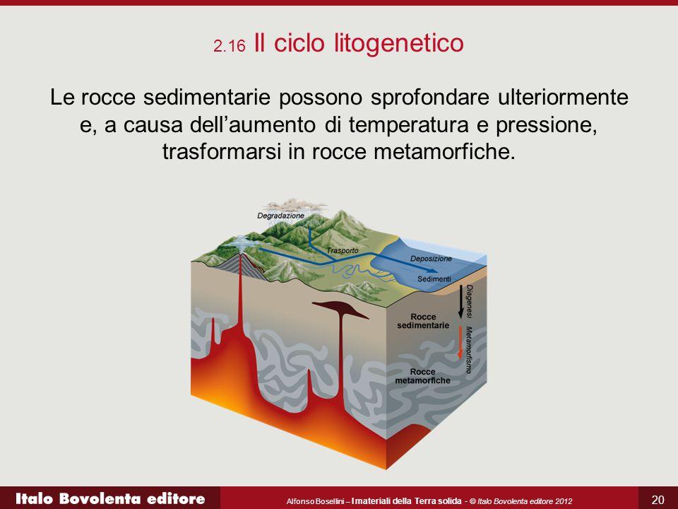 Alfonso Bosellini – I materiali della Terra solida - © Italo Bovolenta editore 2012 20 2.16 Il ciclo litogenetico Le rocce sedimentarie possono sprofo