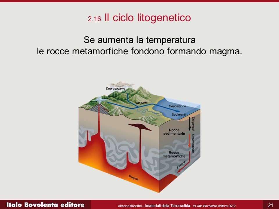 Alfonso Bosellini – I materiali della Terra solida - © Italo Bovolenta editore 2012 21 2.16 Il ciclo litogenetico Se aumenta la temperatura le rocce m