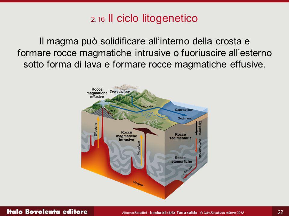 Alfonso Bosellini – I materiali della Terra solida - © Italo Bovolenta editore 2012 22 2.16 Il ciclo litogenetico Il magma può solidificare all'intern