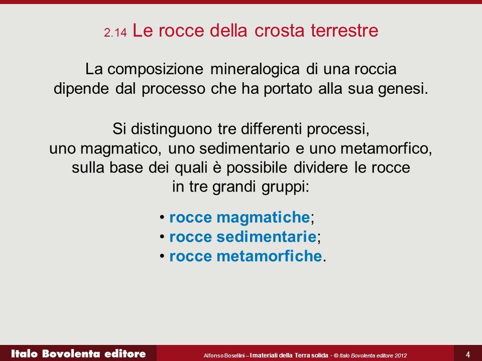 Alfonso Bosellini – I materiali della Terra solida - © Italo Bovolenta editore 2012 4 La composizione mineralogica di una roccia dipende dal processo