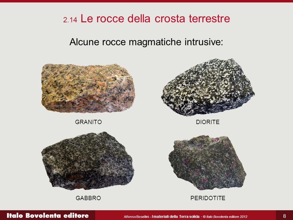 Alfonso Bosellini – I materiali della Terra solida - © Italo Bovolenta editore 2012 8 Alcune rocce magmatiche intrusive: 2.14 Le rocce della crosta te