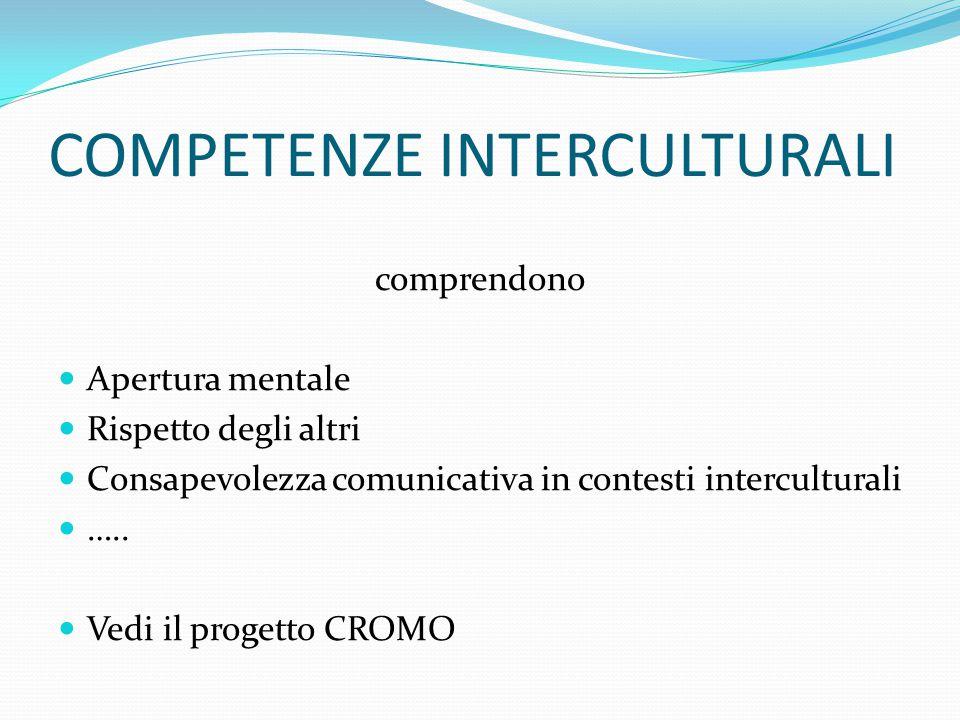 COMPETENZE INTERCULTURALI comprendono Apertura mentale Rispetto degli altri Consapevolezza comunicativa in contesti interculturali …..