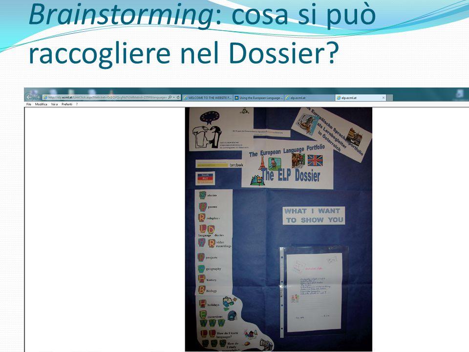 Brainstorming: cosa si può raccogliere nel Dossier?