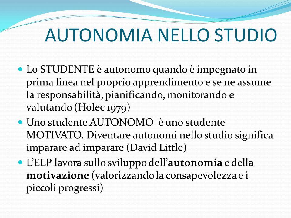 AUTONOMIA NELLO STUDIO Lo STUDENTE è autonomo quando è impegnato in prima linea nel proprio apprendimento e se ne assume la responsabilità, pianificando, monitorando e valutando (Holec 1979) Uno studente AUTONOMO è uno studente MOTIVATO.