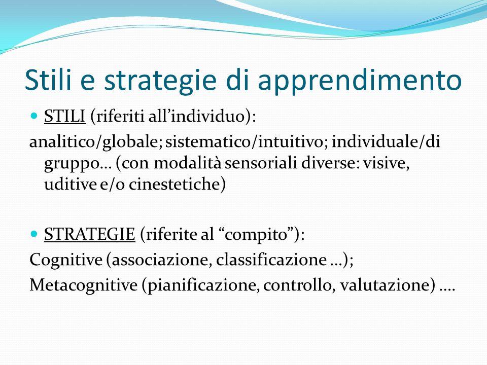 Stili e strategie di apprendimento STILI (riferiti all'individuo): analitico/globale; sistematico/intuitivo; individuale/di gruppo… (con modalità sensoriali diverse: visive, uditive e/o cinestetiche) STRATEGIE (riferite al compito ): Cognitive (associazione, classificazione …); Metacognitive (pianificazione, controllo, valutazione) ….