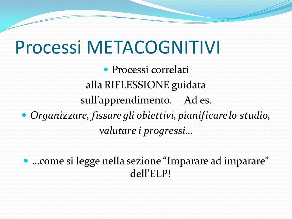 Processi METACOGNITIVI Processi correlati alla RIFLESSIONE guidata sull'apprendimento.