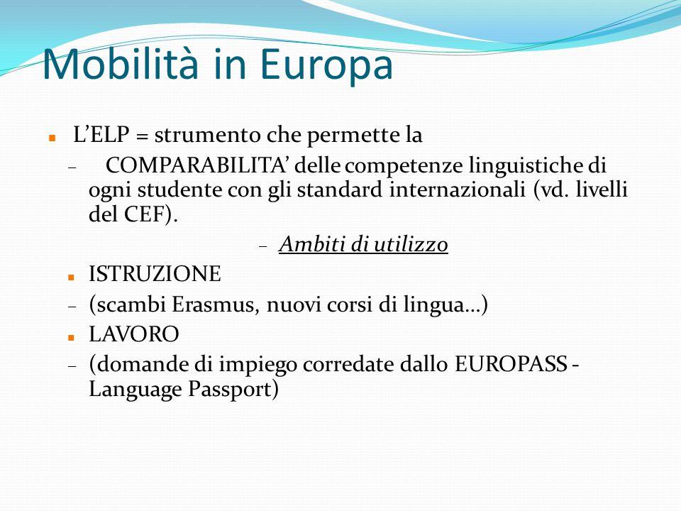 Mobilità in Europa L'ELP = strumento che permette la – COMPARABILITA' delle competenze linguistiche di ogni studente con gli standard internazionali (vd.