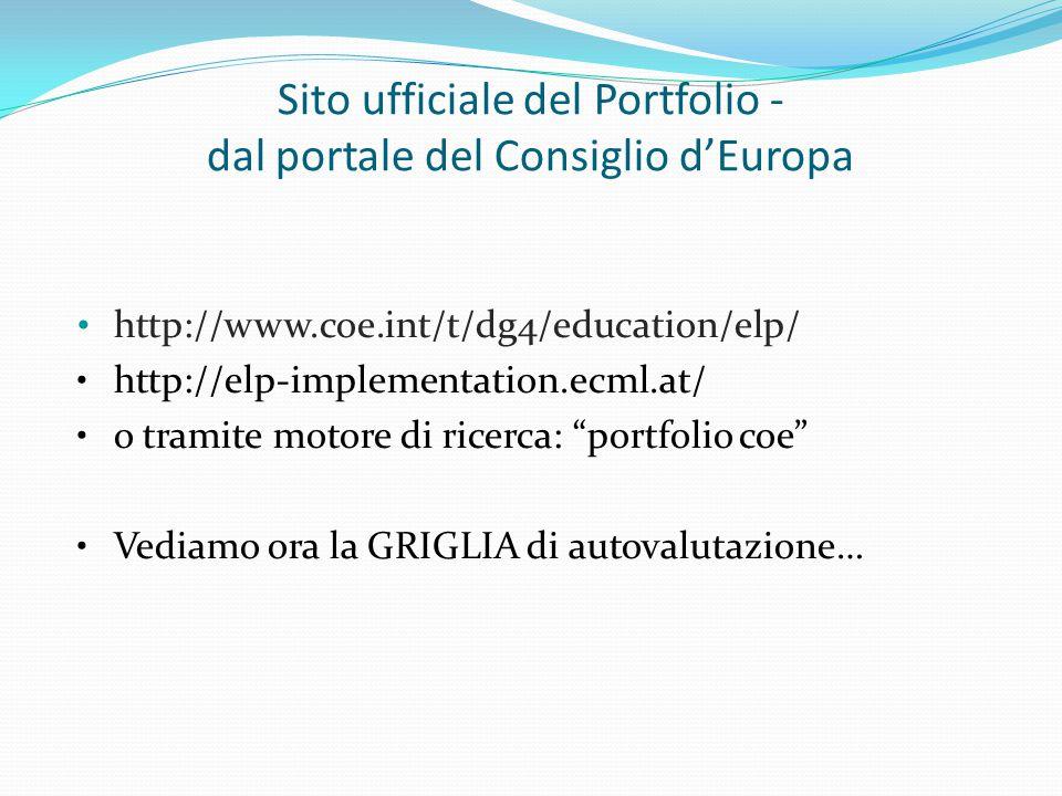 Sito ufficiale del Portfolio - dal portale del Consiglio d'Europa http://www.coe.int/t/dg4/education/elp/ http://elp-implementation.ecml.at/ o tramite motore di ricerca: portfolio coe Vediamo ora la GRIGLIA di autovalutazione…