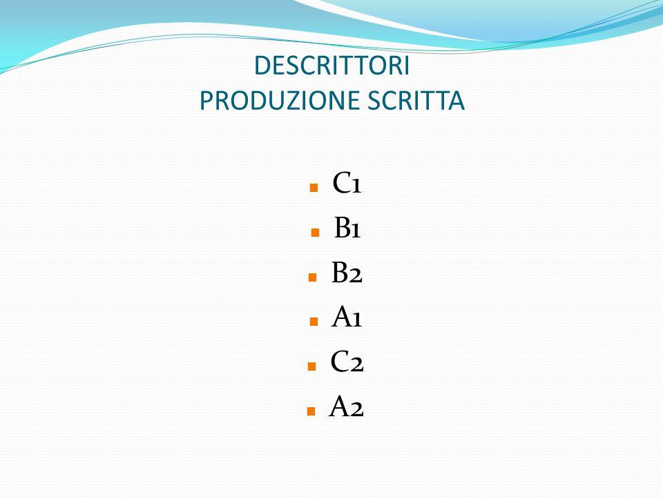 DESCRITTORI PRODUZIONE SCRITTA C1 B1 B2 A1 C2 A2