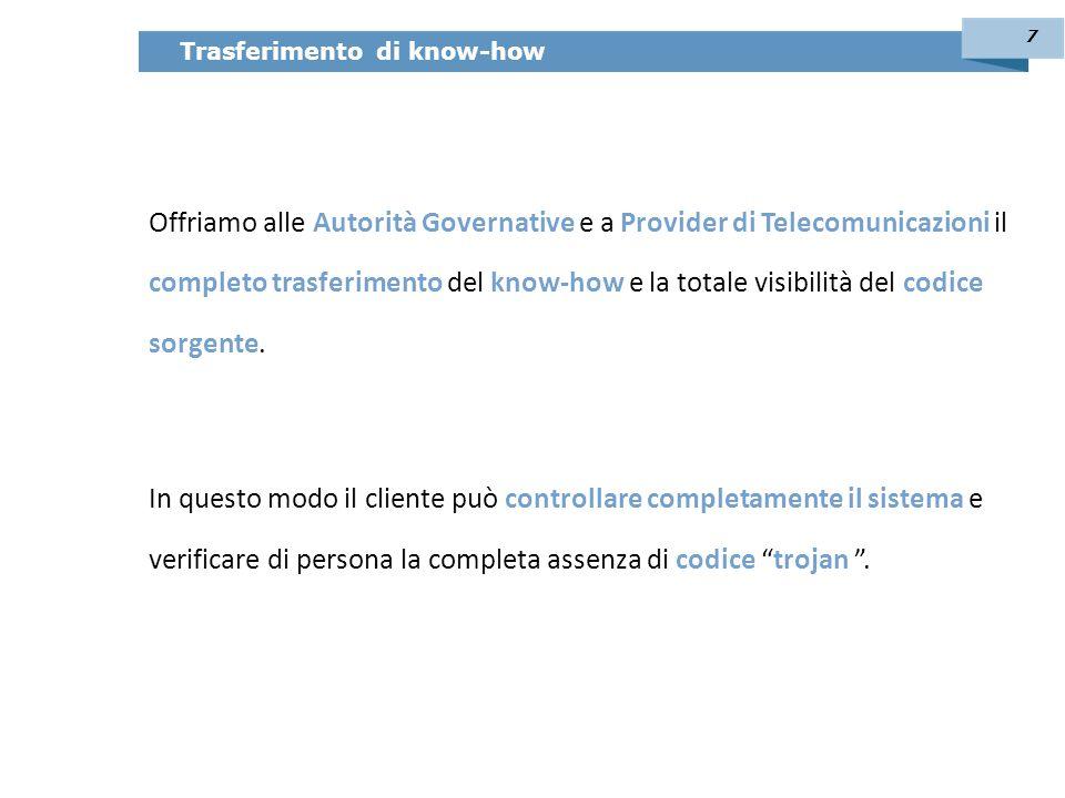 Offriamo alle Autorità Governative e a Provider di Telecomunicazioni il completo trasferimento del know-how e la totale visibilità del codice sorgente.