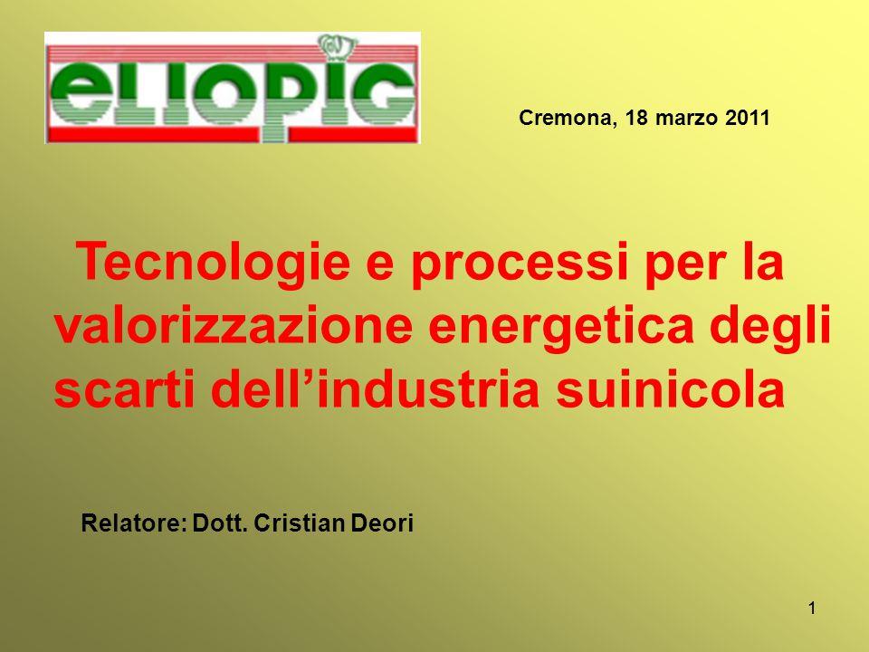 11 Cremona, 18 marzo 2011 Tecnologie e processi per la valorizzazione energetica degli scarti dell'industria suinicola Relatore: Dott. Cristian Deori