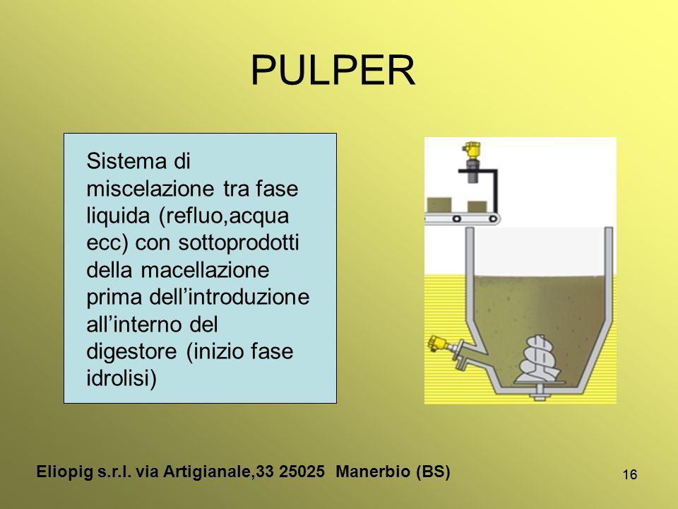 16 PULPER Sistema di miscelazione tra fase liquida (refluo,acqua ecc) con sottoprodotti della macellazione prima dell'introduzione all'interno del dig