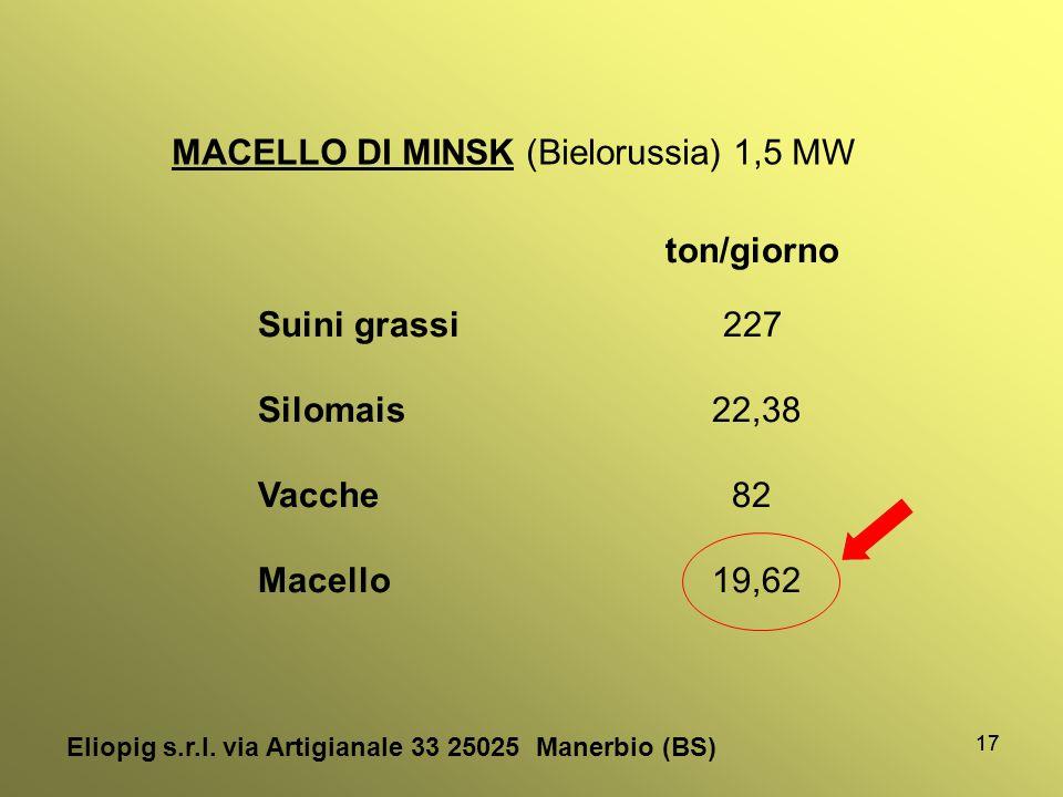 17 MACELLO DI MINSK (Bielorussia) 1,5 MW ton/giorno Suini grassi 227 Silomais 22,38 Vacche 82 Macello 19,62 Eliopig s.r.l. via Artigianale 33 25025 Ma