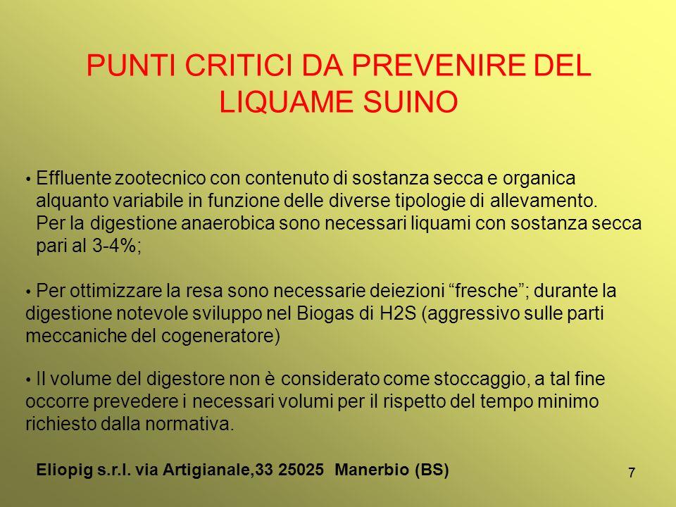 77 PUNTI CRITICI DA PREVENIRE DEL LIQUAME SUINO Effluente zootecnico con contenuto di sostanza secca e organica alquanto variabile in funzione delle d