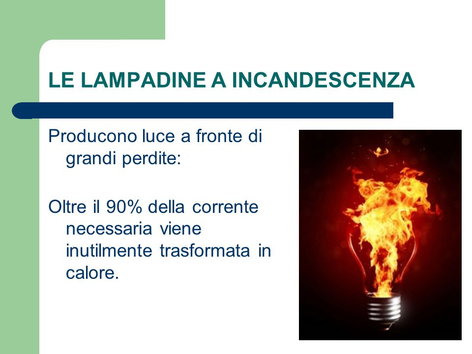 LE LAMPADINE A INCANDESCENZA Producono luce a fronte di grandi perdite: Oltre il 90% della corrente necessaria viene inutilmente trasformata in calore