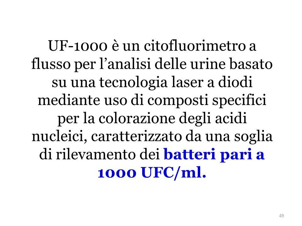 49 UF-1000 è un citofluorimetro a flusso per l'analisi delle urine basato su una tecnologia laser a diodi mediante uso di composti specifici per la colorazione degli acidi nucleici, caratterizzato da una soglia di rilevamento dei batteri pari a 1000 UFC/ml.