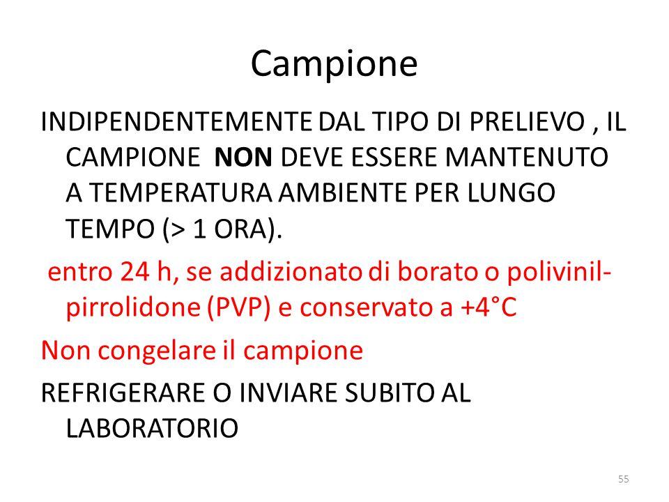 55 Campione INDIPENDENTEMENTE DAL TIPO DI PRELIEVO, IL CAMPIONE NON DEVE ESSERE MANTENUTO A TEMPERATURA AMBIENTE PER LUNGO TEMPO (> 1 ORA).