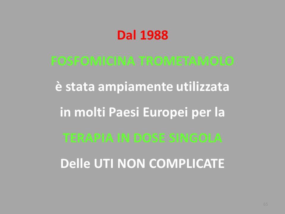 65 Dal 1988 FOSFOMICINA TROMETAMOLO è stata ampiamente utilizzata in molti Paesi Europei per la TERAPIA IN DOSE SINGOLA Delle UTI NON COMPLICATE