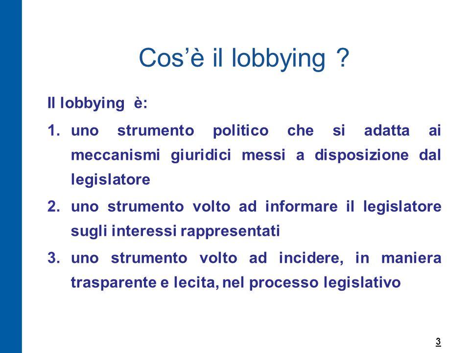 Cos'è il lobbying ? Il lobbying è: 1.uno strumento politico che si adatta ai meccanismi giuridici messi a disposizione dal legislatore 2.uno strumento