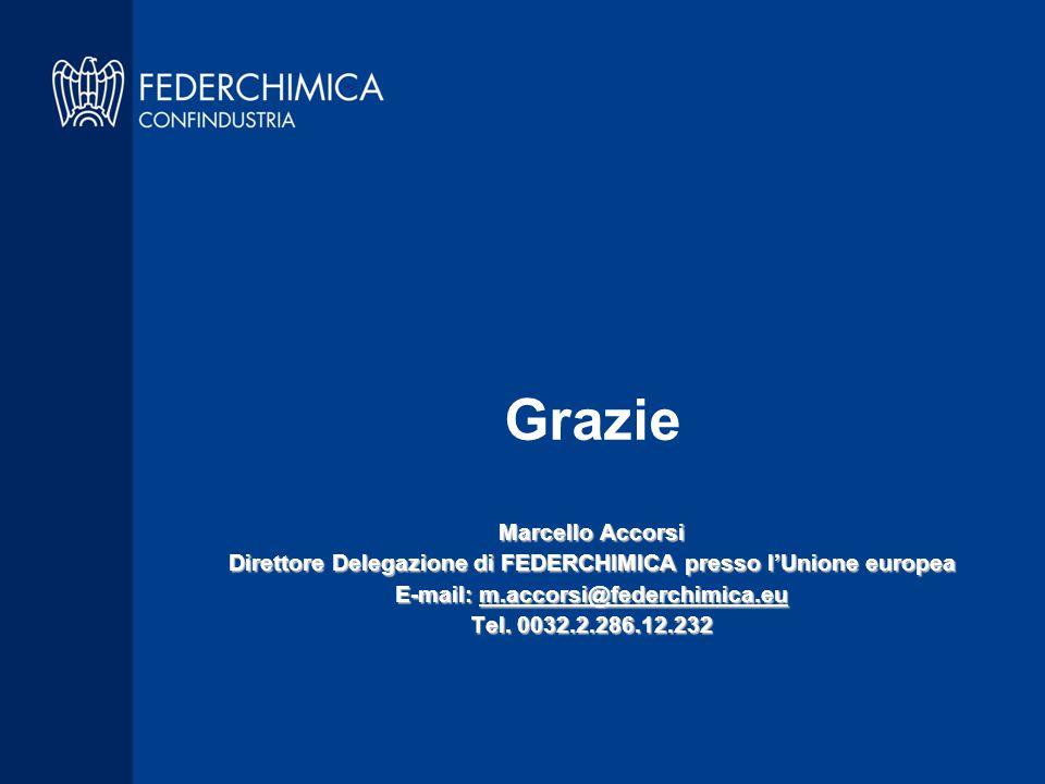 Grazie Marcello Accorsi Direttore Delegazione di FEDERCHIMICA presso l'Unione europea E-mail: m.accorsi@federchimica.eu Tel.