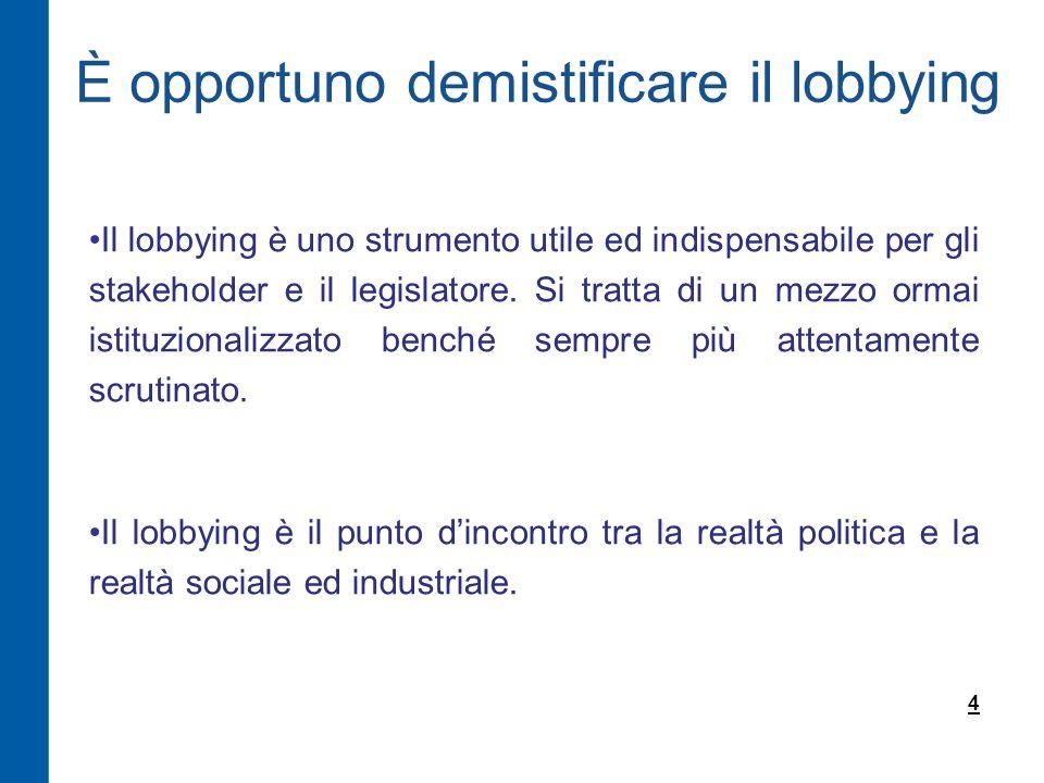 Il lobbying è uno strumento utile ed indispensabile per gli stakeholder e il legislatore.