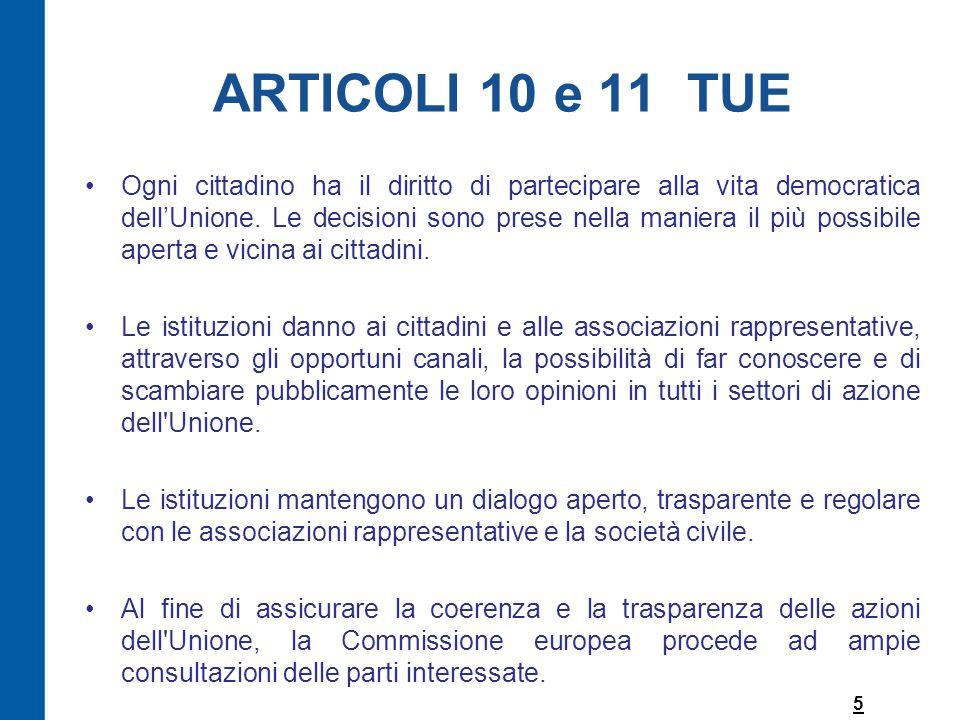 ARTICOLI 10 e 11 TUE Ogni cittadino ha il diritto di partecipare alla vita democratica dell'Unione.