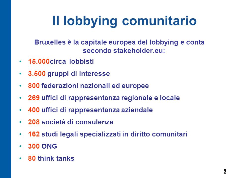 Il lobbying comunitario Bruxelles è la capitale europea del lobbying e conta secondo stakeholder.eu: 15.000circa lobbisti 3.500 gruppi di interesse 800 federazioni nazionali ed europee 269 uffici di rappresentanza regionale e locale 400 uffici di rappresentanza aziendale 208 società di consulenza 162 studi legali specializzati in diritto comunitari 300 ONG 80 think tanks 8