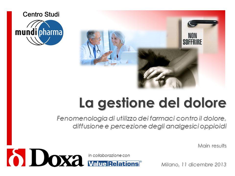 La gestione del dolore Fenomenologia di utilizzo dei farmaci contro il dolore, diffusione e percezione degli analgesici oppioidi Main results Milano,
