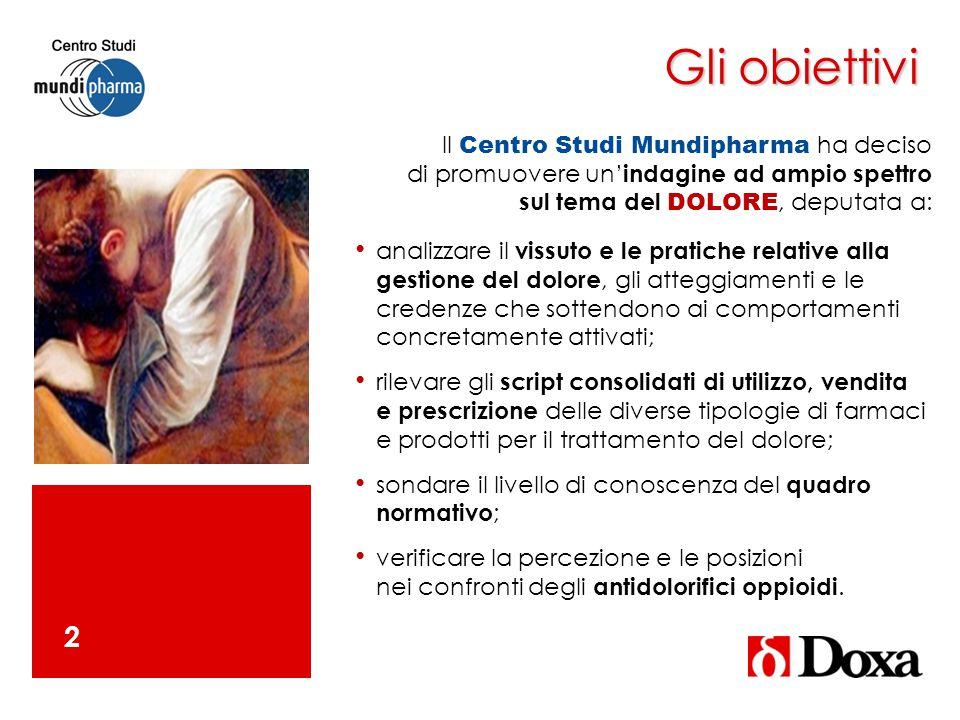 Gli obiettivi 2 Il Centro Studi Mundipharma ha deciso di promuovere un' indagine ad ampio spettro sul tema del DOLORE, deputata a: analizzare il vissu