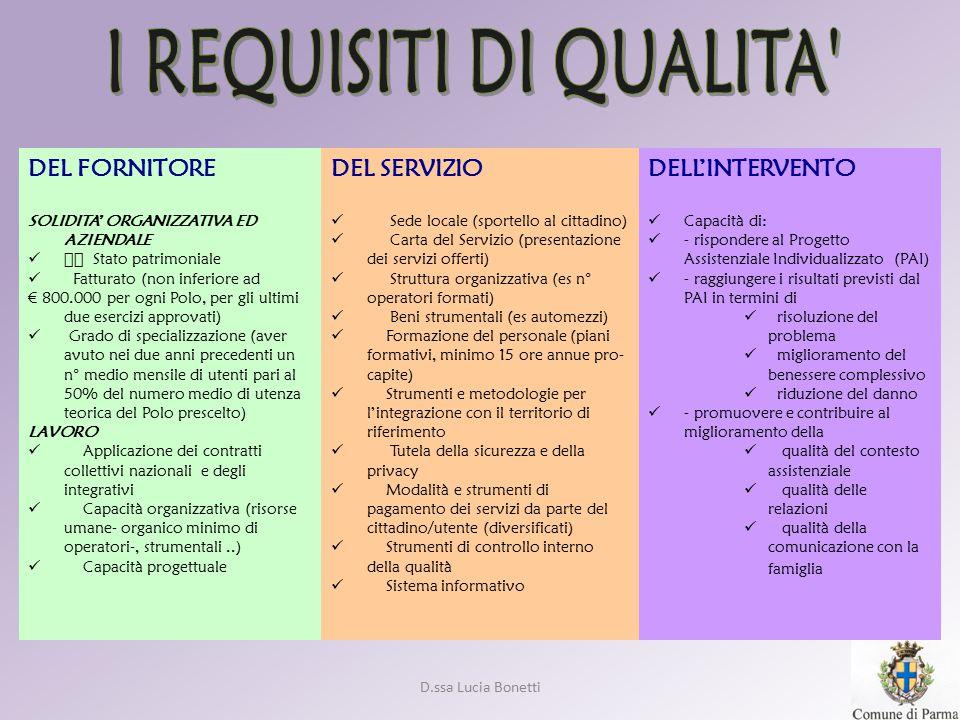 D.ssa Lucia Bonetti DEL FORNITORE SOLIDITA' ORGANIZZATIVA ED AZIENDALE  Stato patrimoniale Fatturato (non inferiore ad € 800.000 per ogni Polo, per