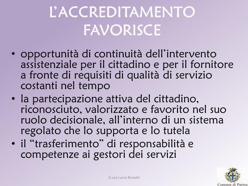 D.ssa Lucia Bonetti L'ACCREDITAMENTO FAVORISCE opportunità di continuità dell'intervento assistenziale per il cittadino e per il fornitore a fronte di