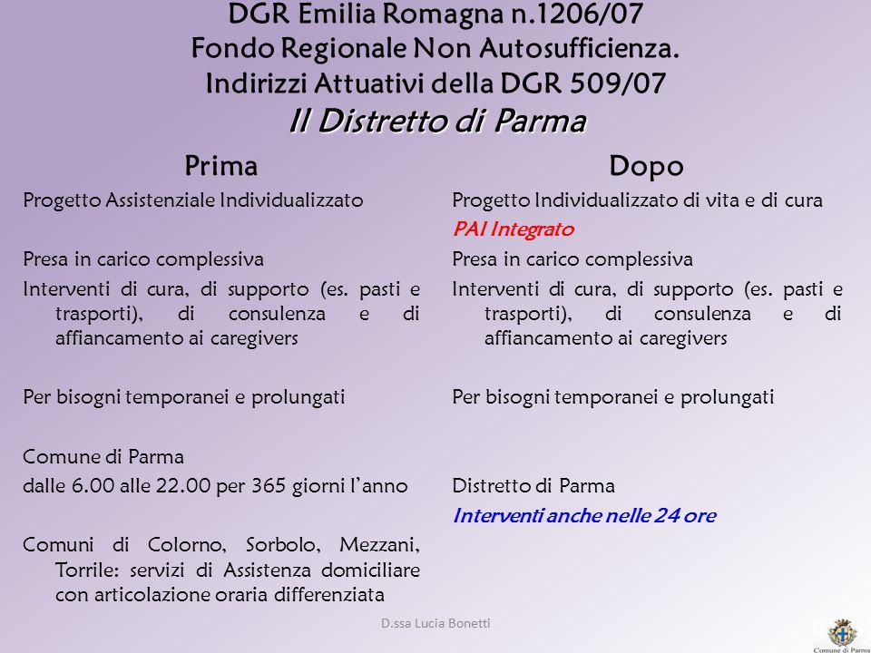 D.ssa Lucia Bonetti Il Distretto di Parma DGR Emilia Romagna n.1206/07 Fondo Regionale Non Autosufficienza. Indirizzi Attuativi della DGR 509/07 Il Di