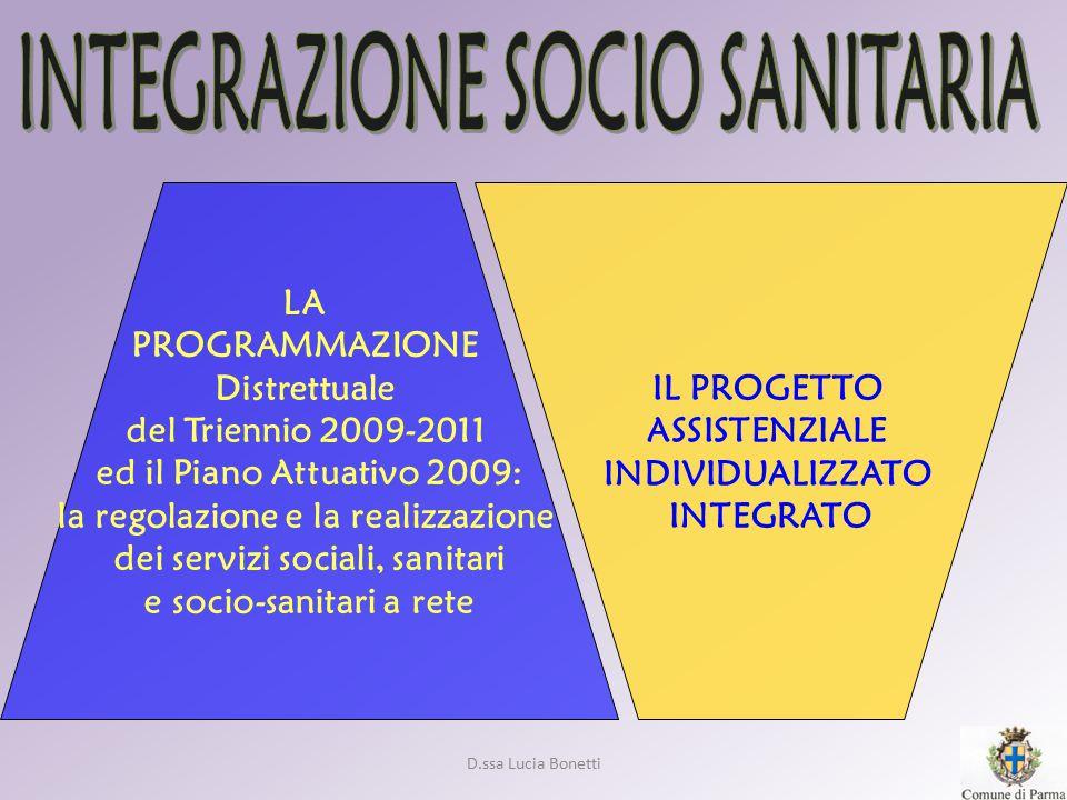 D.ssa Lucia Bonetti IL PROGETTO ASSISTENZIALE INDIVIDUALIZZATO INTEGRATO LA PROGRAMMAZIONE Distrettuale del Triennio 2009-2011 ed il Piano Attuativo 2