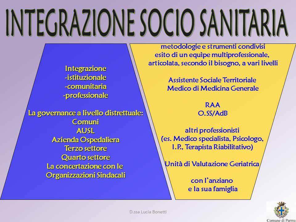 D.ssa Lucia Bonetti metodologie e strumenti condivisi esito di un equìpe multiprofessionale, articolata, secondo il bisogno, a vari livelli Assistente