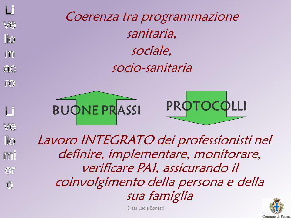 D.ssa Lucia Bonetti Coerenza tra programmazione sanitaria, sociale, socio-sanitaria Lavoro INTEGRATO dei professionisti nel definire, implementare, mo