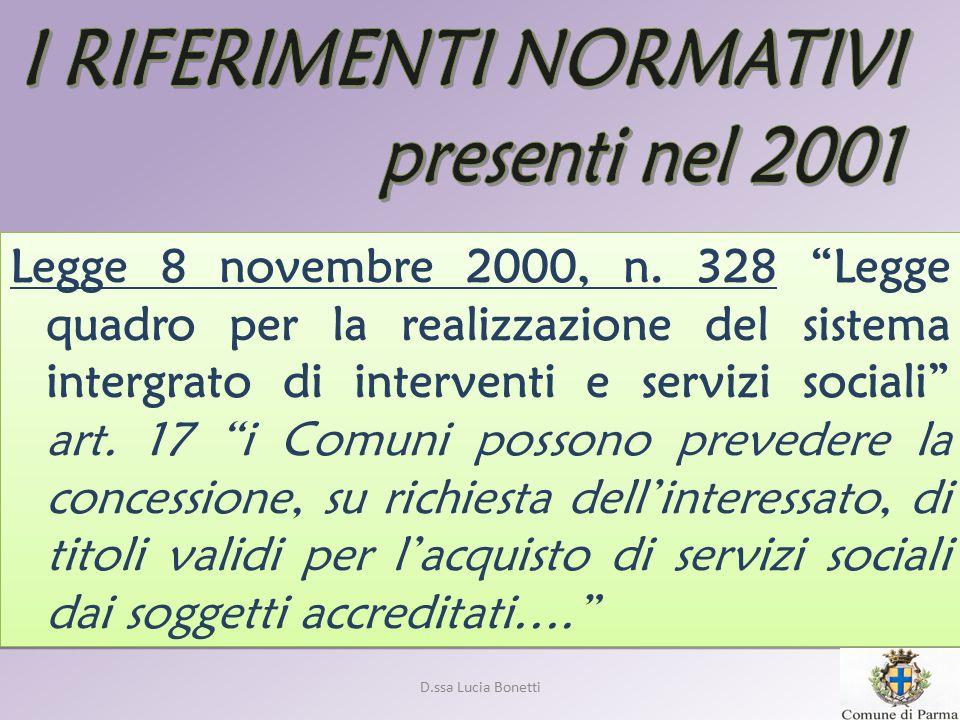 D.ssa Lucia Bonetti Dal 01 Aprile 2001 Il Comune di Parma PROGETTO ORGANIZZATIVO-FUNZIONALE DEL MODULO GESTIONALE TRANSITORIO PROPEDEUTICO ALL'AVVIO DELLA GESTIONE DEL SERVIZIO DI ASSISTENZA DOMICILIARE RIVOLTO ALLE PERSONE ANZIANE ED AGLI ADULTI NON AUTOSUFFICIENTI A CAUSA DI FORME MORBOSE EQUIPARABILI A QUELLE GERIATRICHE A MEZZO DELL' ACCREDITAMENTO