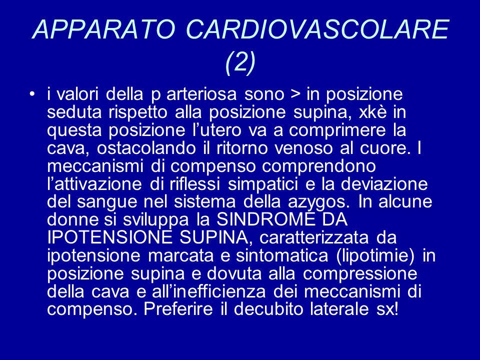APPARATO CARDIOVASCOLARE (2) i valori della p arteriosa sono > in posizione seduta rispetto alla posizione supina, xkè in questa posizione l'utero va a comprimere la cava, ostacolando il ritorno venoso al cuore.