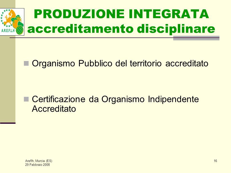 Areflh, Murcia (ES) 29 Febbraio 2008 16 PRODUZIONE INTEGRATA accreditamento disciplinare Organismo Pubblico del territorio accreditato Certificazione da Organismo Indipendente Accreditato