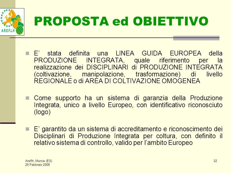 Areflh, Murcia (ES) 29 Febbraio 2008 22 PROPOSTA ed OBIETTIVO E' stata definita una LINEA GUIDA EUROPEA della PRODUZIONE INTEGRATA, quale riferimento per la realizzazione dei DISCIPLINARI di PRODUZIONE INTEGRATA (coltivazione, manipolazione, trasformazione) di livello REGIONALE o di AREA DI COLTIVAZIONE OMOGENEA Come supporto ha un sistema di garanzia della Produzione Integrata, unico a livello Europeo, con identificativo riconosciuto (logo) E' garantito da un sistema di accreditamento e riconoscimento dei Disciplinari di Produzione Integrata per coltura, con definito il relativo sistema di controllo, valido per l'ambito Europeo
