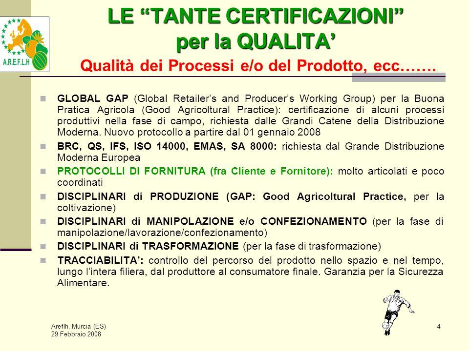 Areflh, Murcia (ES) 29 Febbraio 2008 4 LE TANTE CERTIFICAZIONI per la QUALITA' LE TANTE CERTIFICAZIONI per la QUALITA' Qualità dei Processi e/o del Prodotto, ecc…….